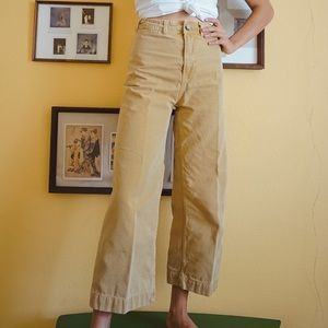Free People Yellow Crop High Waisted Pants Jeans
